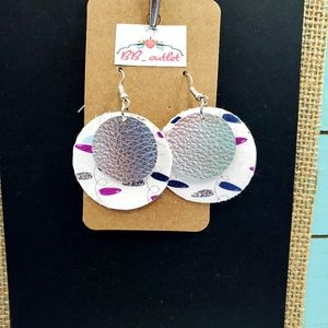 2/$12 Christmas Lights Circle Faux Leather Earring